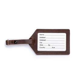 Rustico Leather Luggage Tag Dark Brown