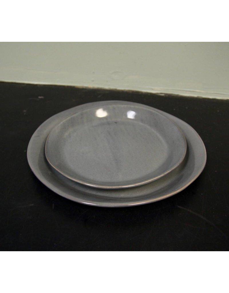 "Alex Marshall Pottery 11.25"" Slim Round Dinner Blue Grey"