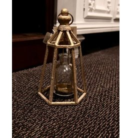 "Gold 12"" Lantern Tealight Holder Dome w/ Glass"