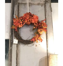 Fall Leaves & Hydrangea Wreath