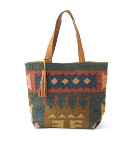 K & K Interiors Red/Blue/Brown Woven Tote Bag w/ Leather Straps/Tassel