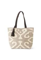 K & K Interiors Cream/Taupe Woven Tote Bag w/ Leather Straps/Tassel