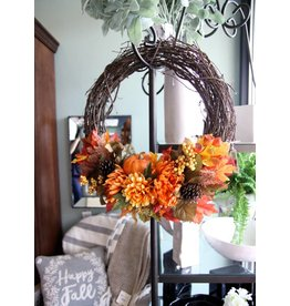 Single Pumpkin Fall Wreath