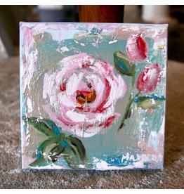 Pamela Harpour Pink Rose Original Art 6 x 6