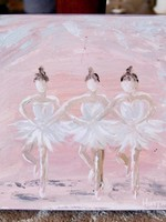 Pamela Harpour Pink Ballerinas Original Art 10 x 10
