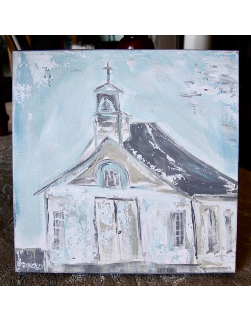 Pamela Harpour Blue Church Original Art 18 x 18