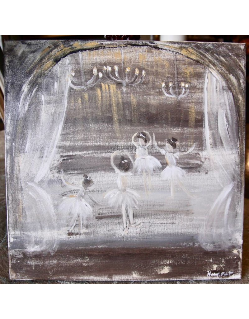 Pamela Harpour Ballerinas in Gold Original Art 20 x 20