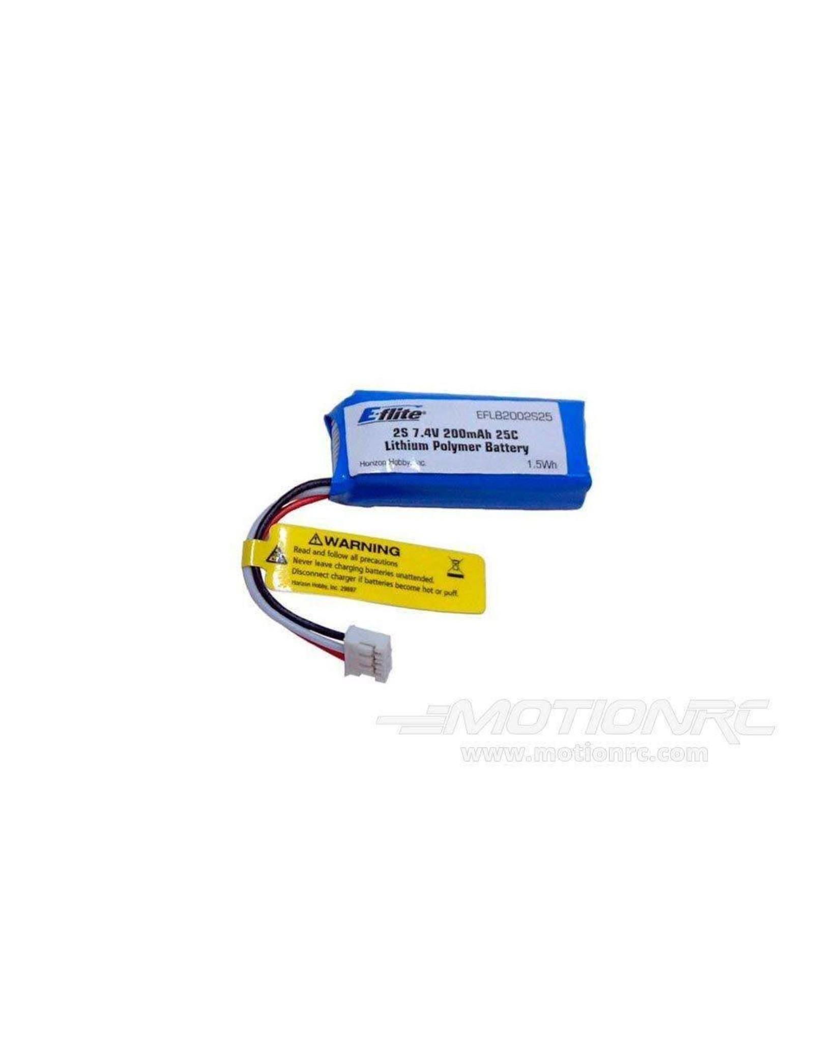 Eflite 200mAh 2S 7.4V 25C LiPo, 26AWG Battery  (EFLB2002S25)