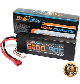 Power Hobby POWER HOBBY - 5200mAh 7.4V 2S 50C LiPo Battery with Hardwired T-Plug Connector