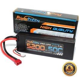 Power Hobby POWER HOBBY - 5200mAh 7.4V 2S 50C with T-Plug/Deans (PHB2S520050CDNS)