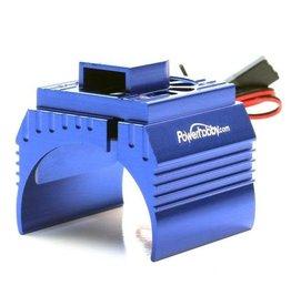 Power Hobby POWER HOBBY - ALUMINUM MOTOR HEATSINK & COOLING FAN FOR 1/8 SIZE MOTORS, BLUE