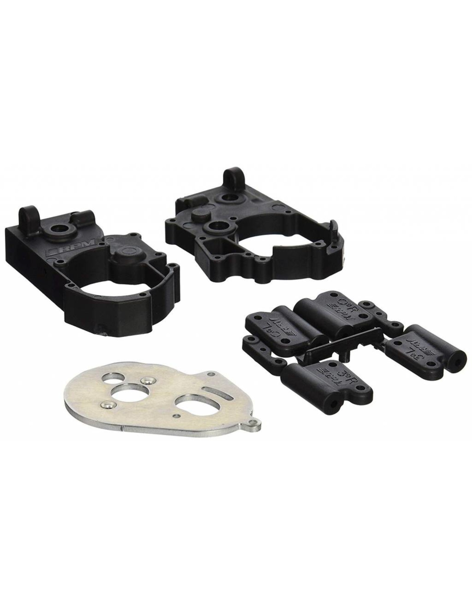 RPM Gearbox Housing and Rear Mounts, Black: TRA 2WD Vehicles (RPM73612)