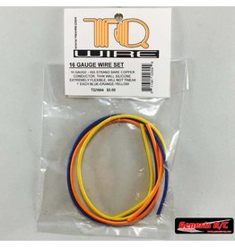 TQ Wire 16 Gauge Super Flexible Wire- 1' ea. Blue, Yellow, Orange