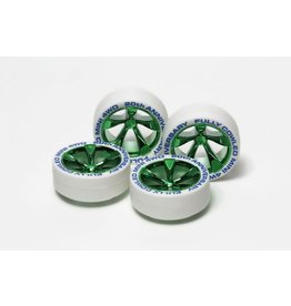 Tamiya JR Low Profile Tires White - w/Green Plated Wheels  (TAM95075)