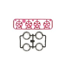 Tamiya JR LP Tire/Wheel Set (5-Spoke) - Pink Plated (TAM95333)