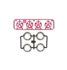 Tamiya JR LP Tire/Wheel Set (5-Spoke) - Pink Plated