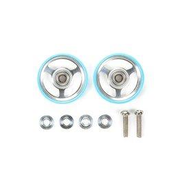 Tamiya JR 17mm Aluminum Rollers - w/Plastic Rings (L. Blue)  (TAM95348)