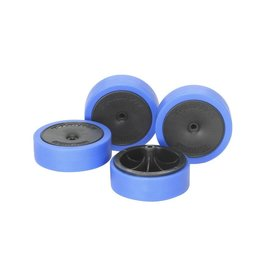 Tamiya JR Hard Lg Dia LP Tire/Wheels - LP Tire/Carbon Wheel Set
