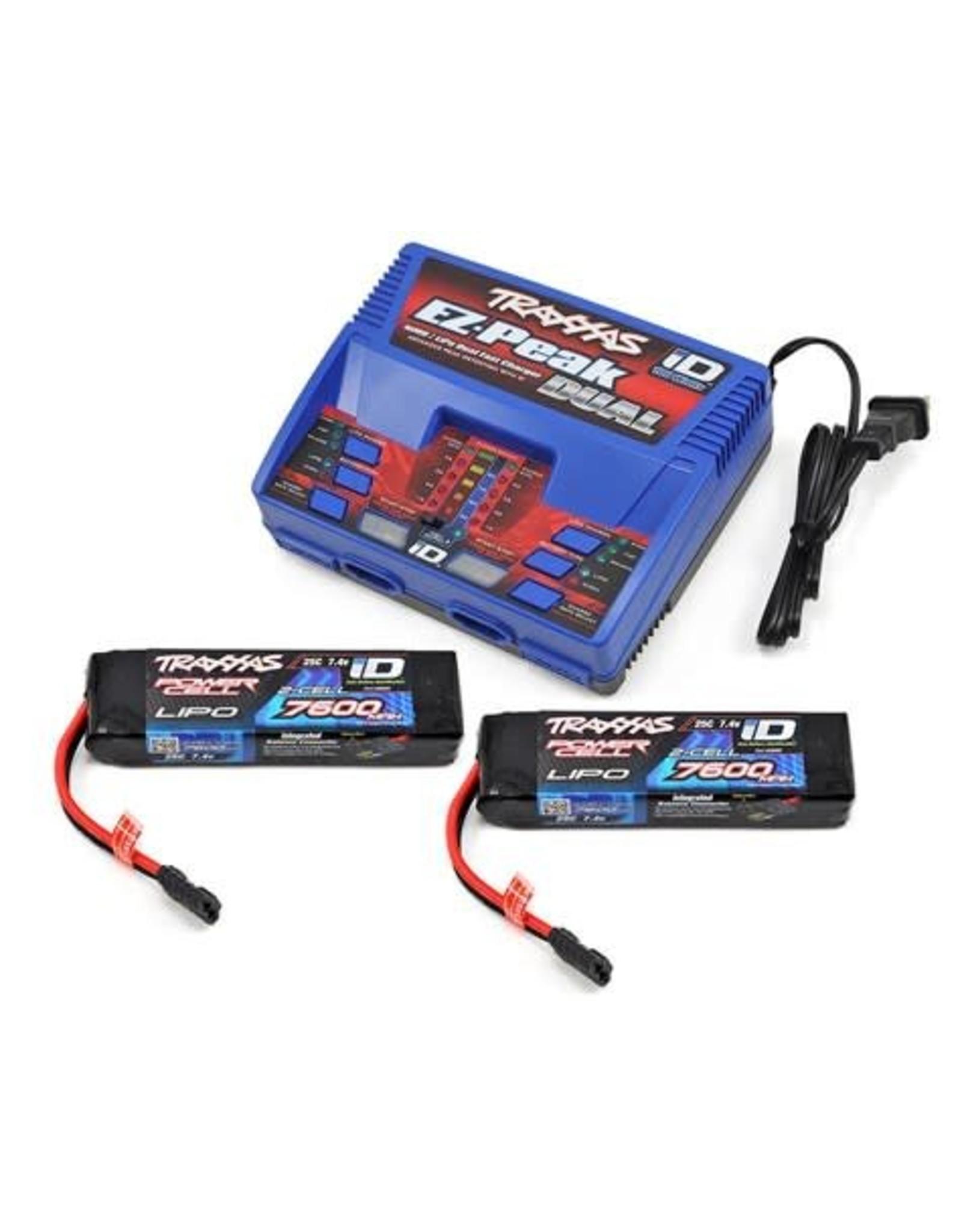 Traxxas 2S 7600mAh Completer Pack: (2) LiPo Battery, (1) EZ-Peak Dual Charger (2991)