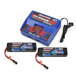 Traxxas 2S 7600mAh Completer Pack: (2) 7.4V 7600mAh LiPo Battery, (1) EZ-Peak Dual ID Charger