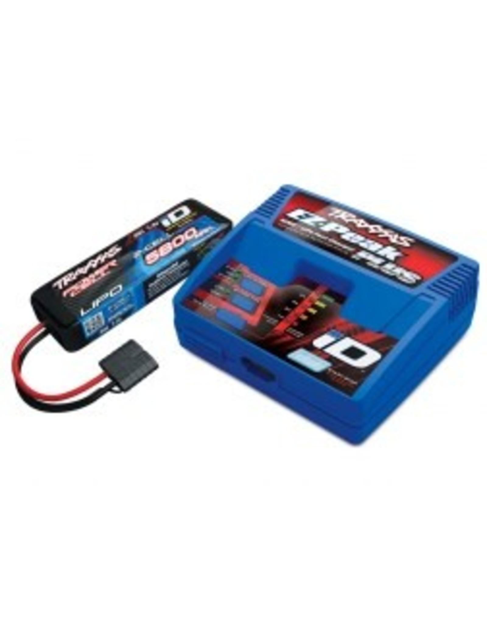 Traxxas 2S 5800mAh Single Completer Pack: (1) 7.4V 5800mAh LiPo Battery, (1) EZ-Peak Plus ID Charger(2992)