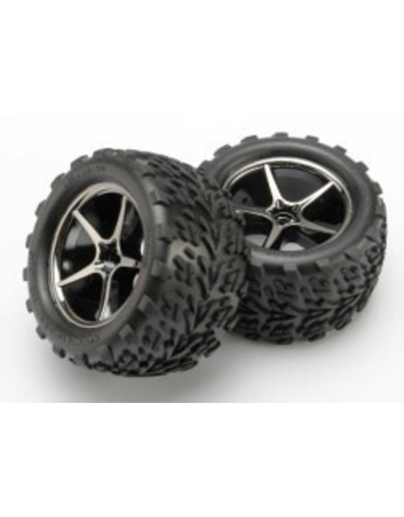 Traxxas Gemini Blk Chrome Wheels,Talon Tires (2): 1/16 ERV (7174A)