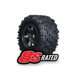 Traxxas Maxx AT Tires / Black Wheels Glued and Mount with Foam Inserts (2): X-Maxx 8S (7772X)