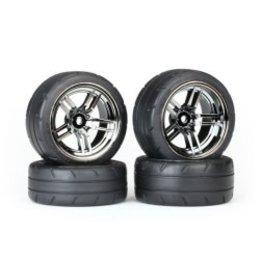 Traxxas Tires & Wheels, 4-TEC Chrome Wheels Response Tires (TSM Rated) (TRA8375)