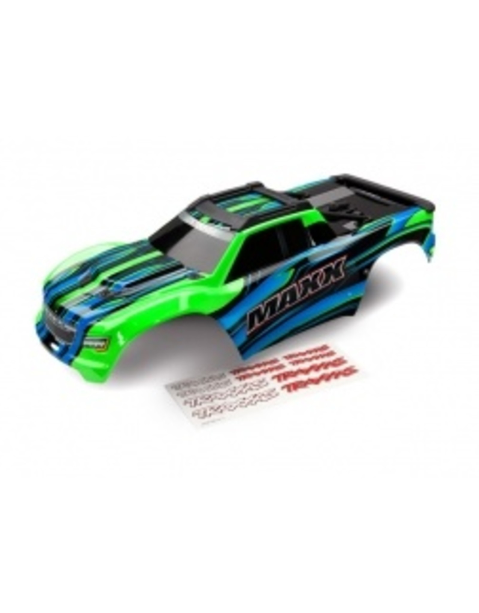 Traxxas Body, Maxx, green (painted)/ decal sheet