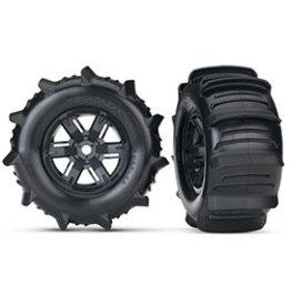 Traxxas Traxxas X-Maxx Pre-Mounted Paddle Tires & Wheels (2) (Black) (7773)