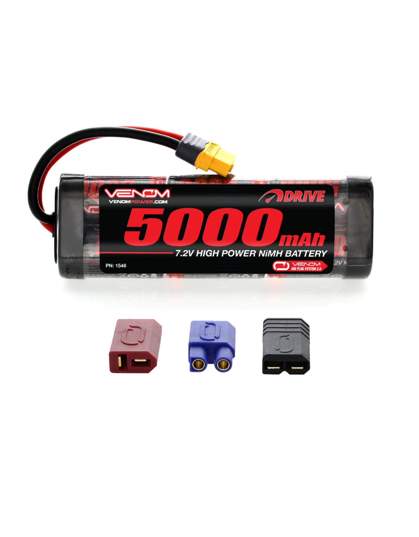 Venom Power 6-Cell 7.2V 5000mAh NiMH Flat Battery: UNI 2.0 Plug  (VNR1548)