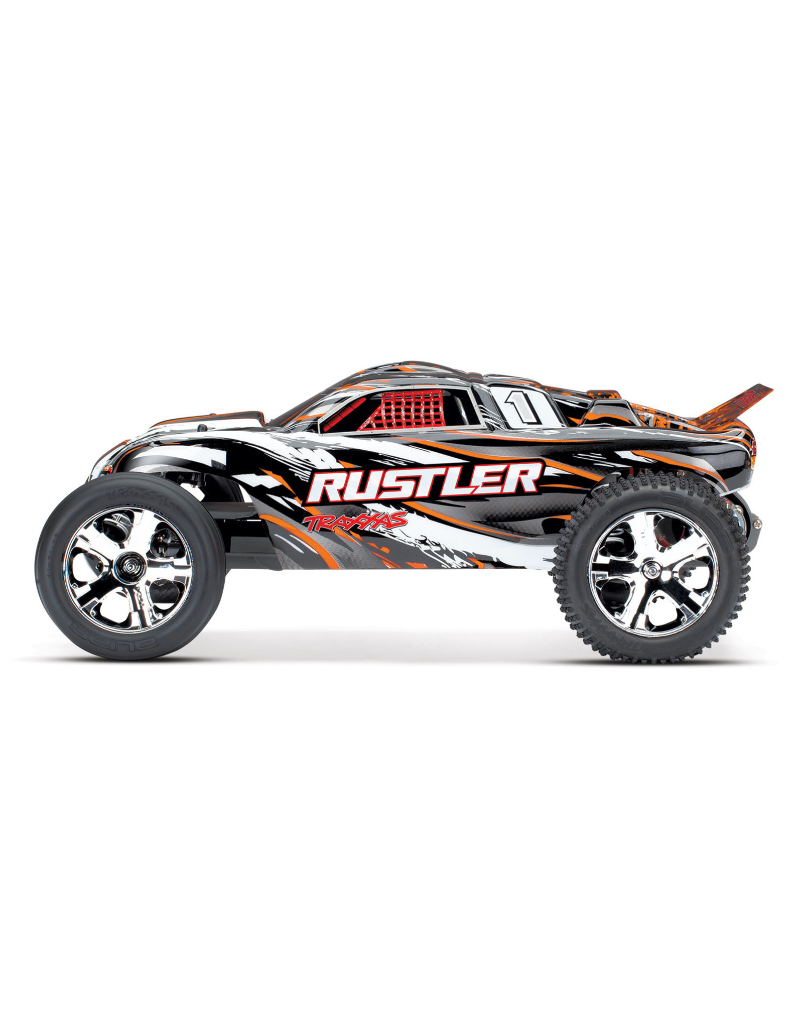 Traxxas 1/10 Rustler 2WD Brushed (ORANGE): Includes Battery with DC Charger