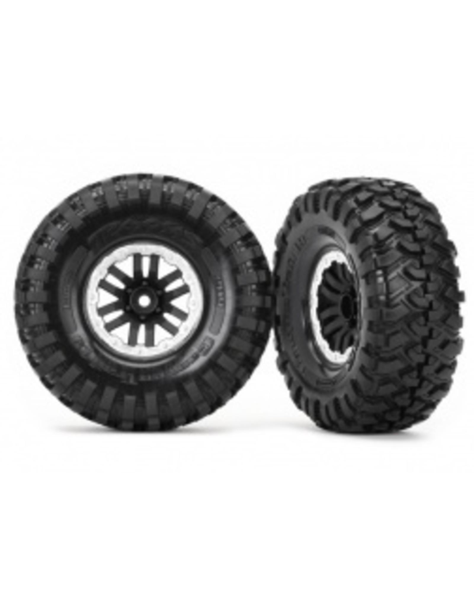 Traxxas Tires and wheels, assembled, glued (TRX-4 satin beadlock wheels, Canyon Trail 1.9 tires) (2)(8272x)