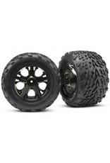 Traxxas Tires & wheels, assembled, glued (2.8') (All-Star black chrome wheels, Talon tires, foam inserts) (nitro rear/ electric front) (2) (TSM rated) (3669A)