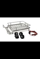 Racers Edge 1/10 Scaler Metal Grid Roof Rack, Round Lights - Silver