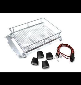 Racers Edge 1/10 Scaler Metal Mesh Roof Rack, Oval Lights - Silver