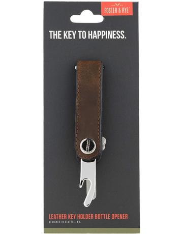 Foster & Rye Brown Leather Key Holder Bottle Opener