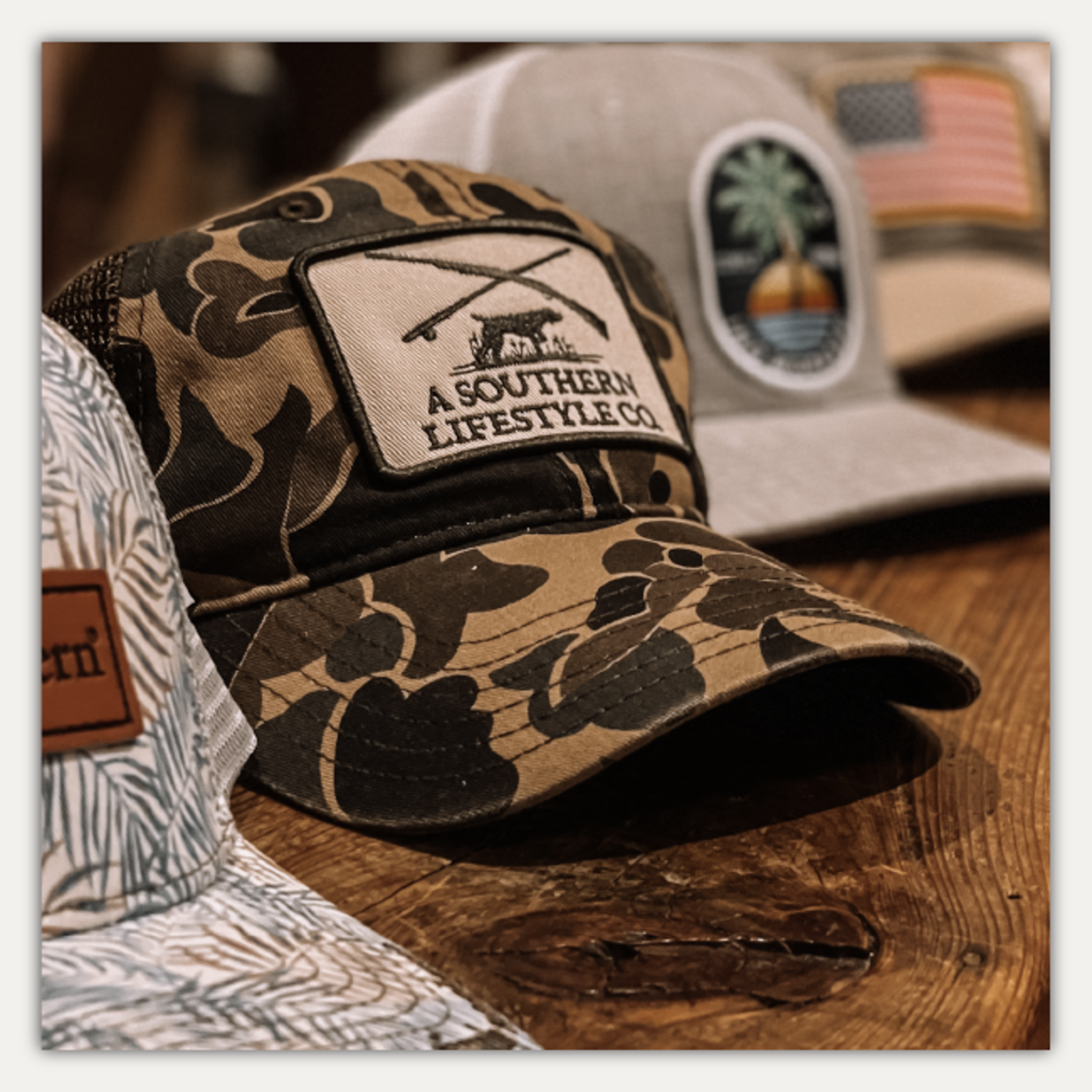 A Southern Lifestyle Hunt Club Patch Camo Hat