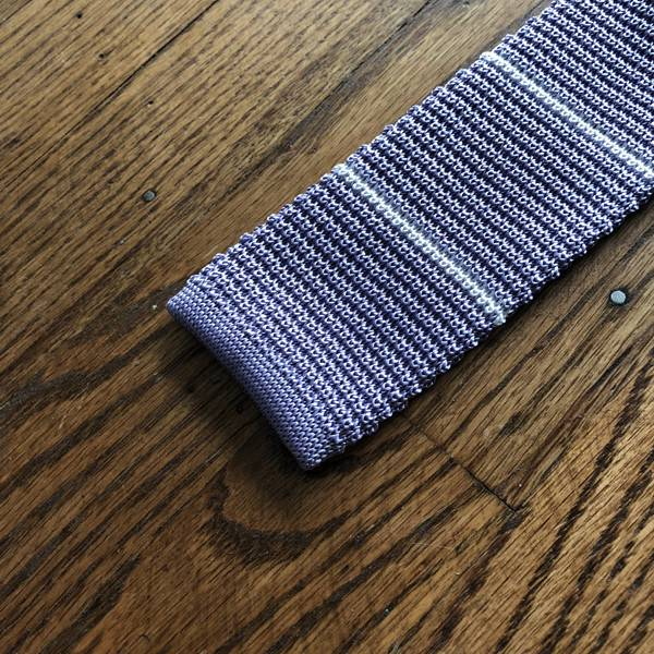 Peter Blair Peter Blair Knit Tie Purple / White Stripe
