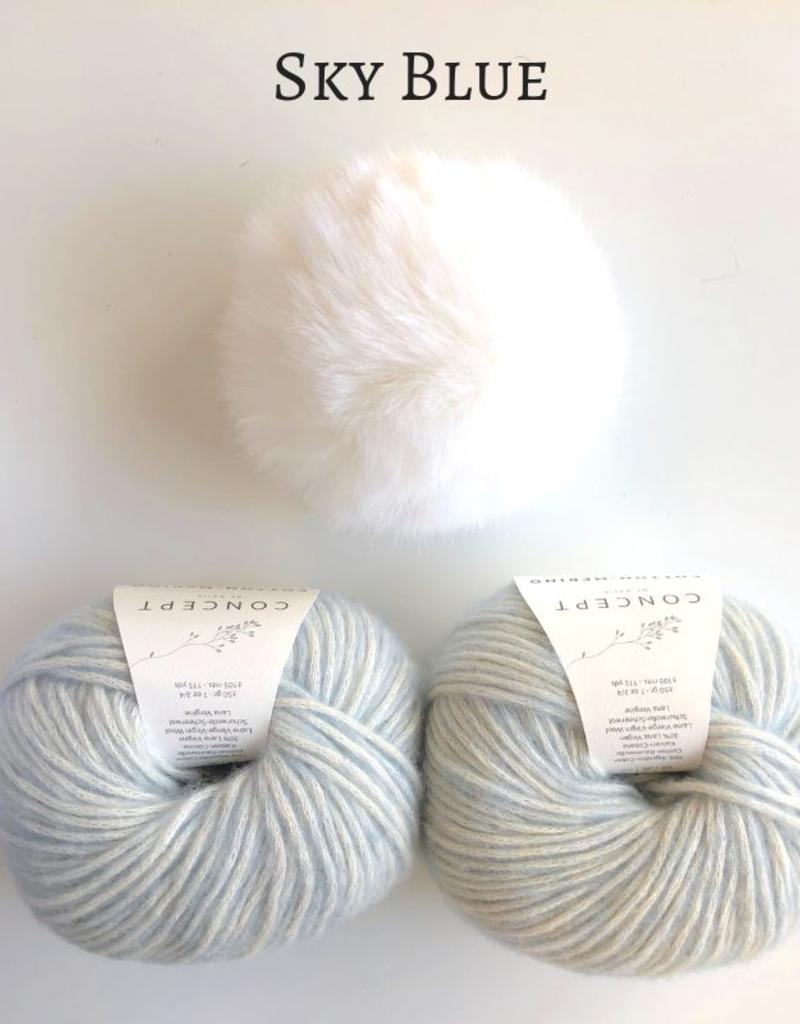 Spun Fibre Moffitt Hat Kit - Cotton Merino & Pom