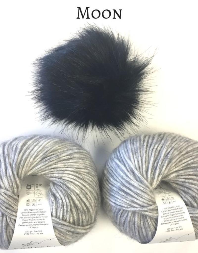 Spun Fibre Moffitt Hat Kit - Cotton Merino & Pom