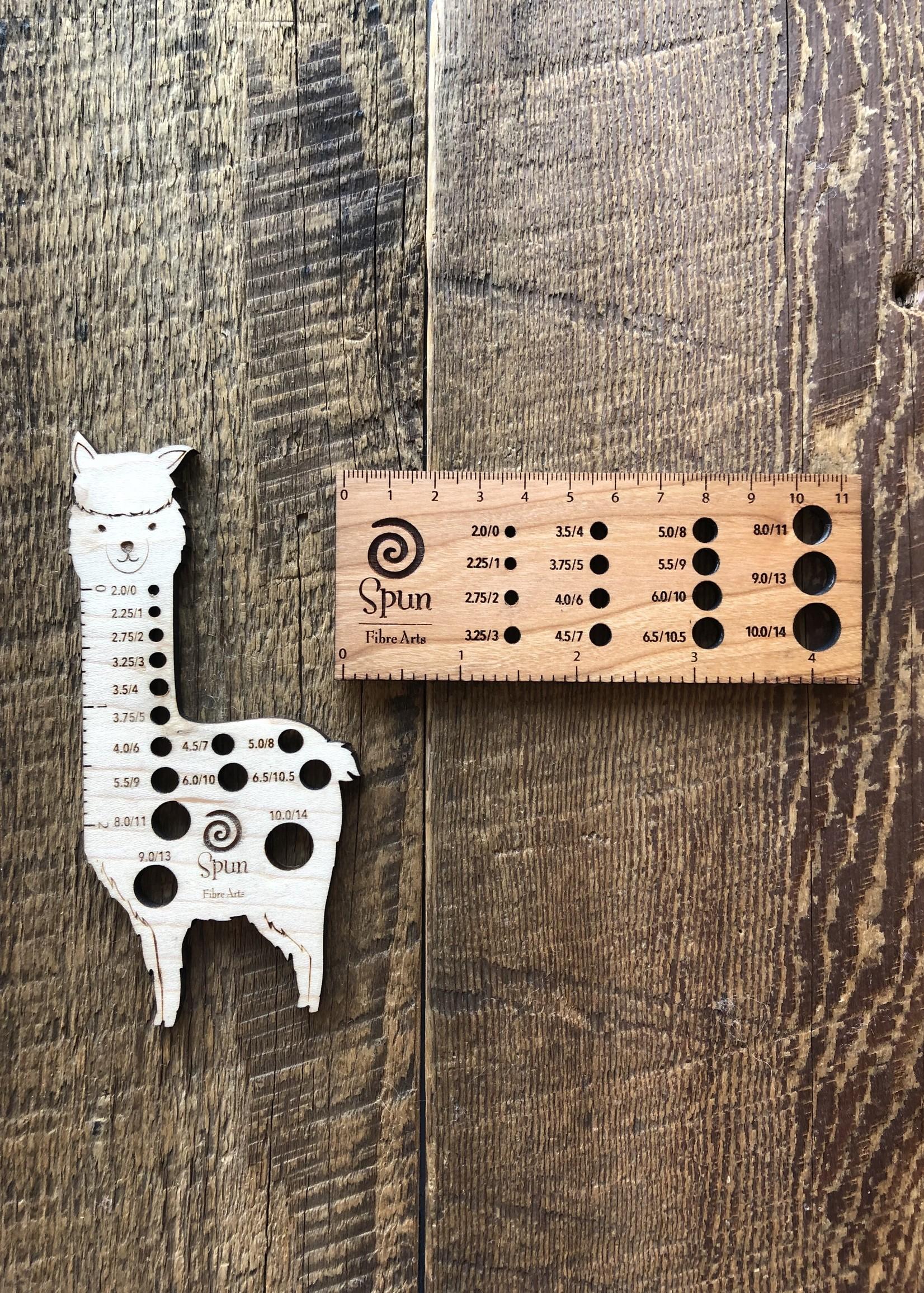 Spun Fibre Spun needle gauge ruler