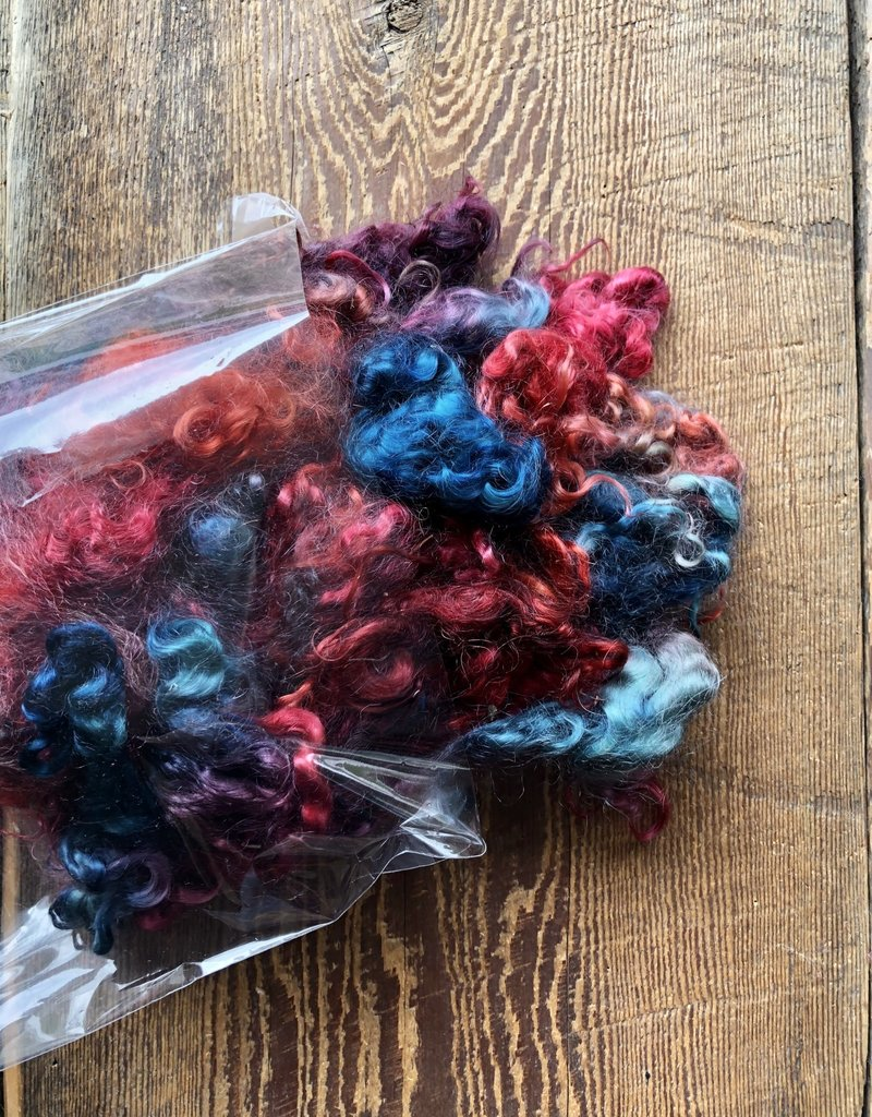 Hand Painted Kid Mohair Locks 80 grams Jewel Tones