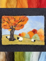 Needle Felt a Fall Scene Wool Painting