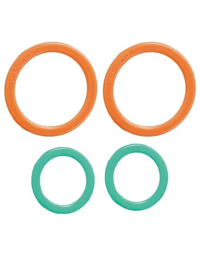 Clover Stitch Markers - Ring, Jumbo, 20 per package, Teal 8-10mm, Orange 12-19mm