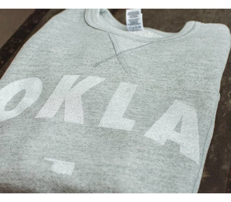 Vintage White OKLA Pullover Sweatshirt Heather Grey