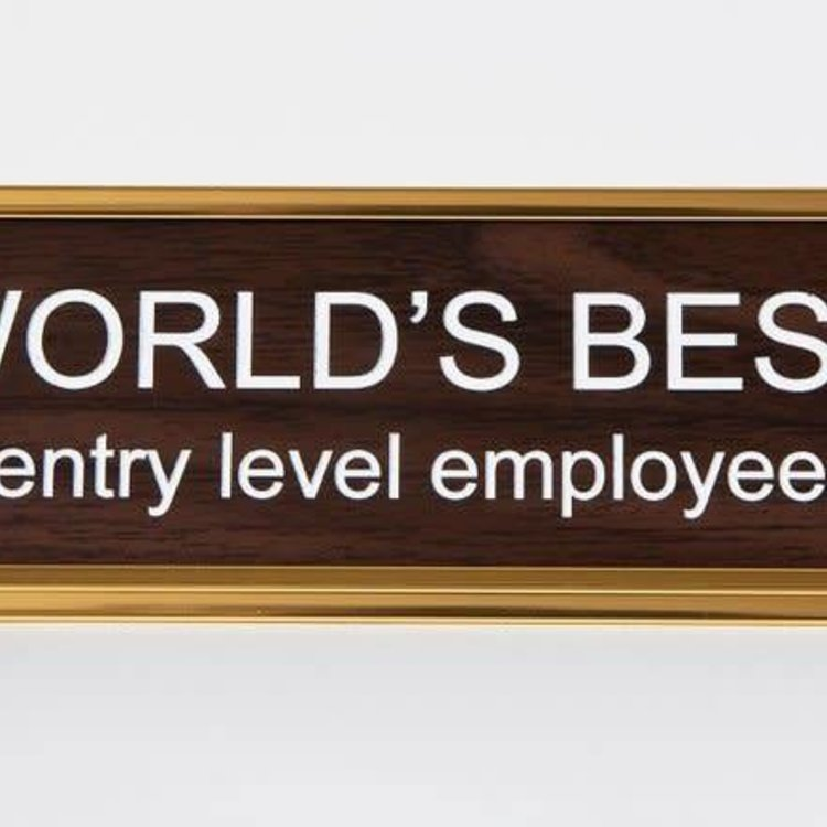 He Said, She Said World's Best Entry Level Employee Nameplate