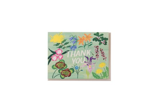 Small Adventure Mint Floral Thank You Card