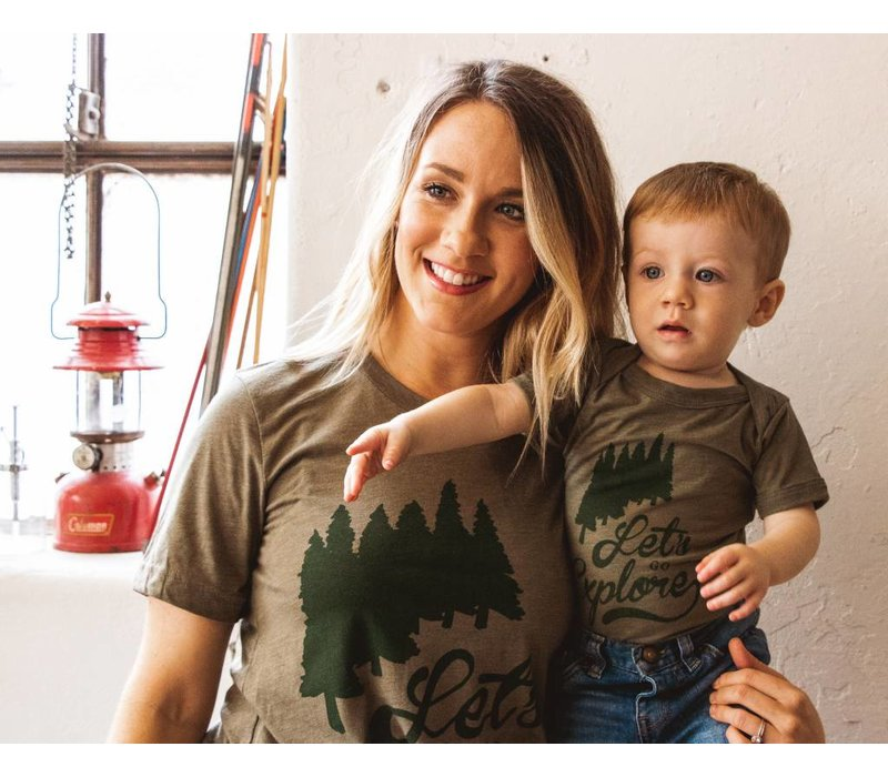 Let's Go Explore Tee Olive Triblend