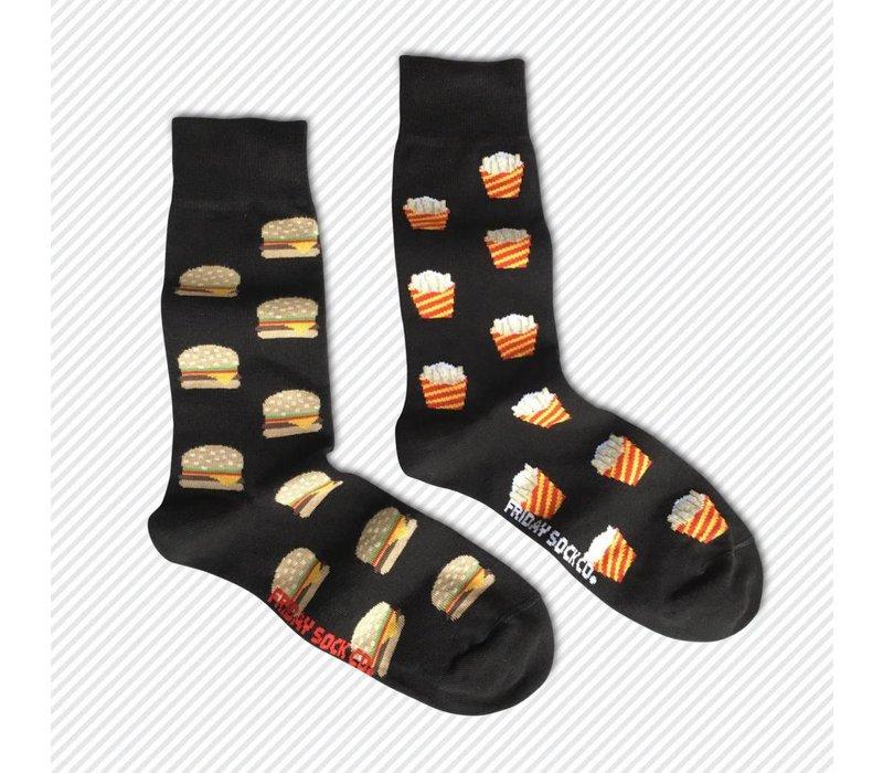 Burger & Fries Mismatch Socks